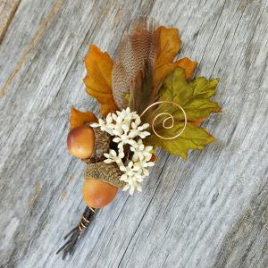 Fall Silk Flower Boutonniere