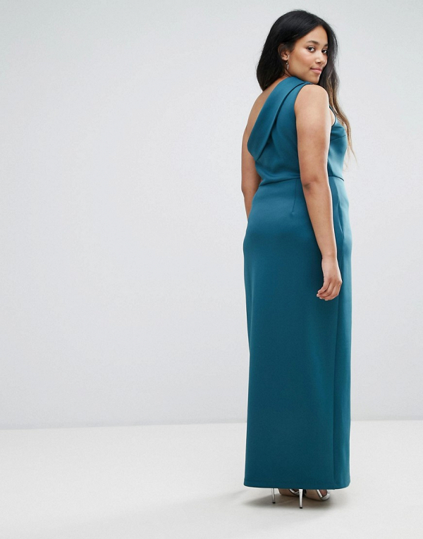 One-Shoulder Maxi Dress with Exposed Zip