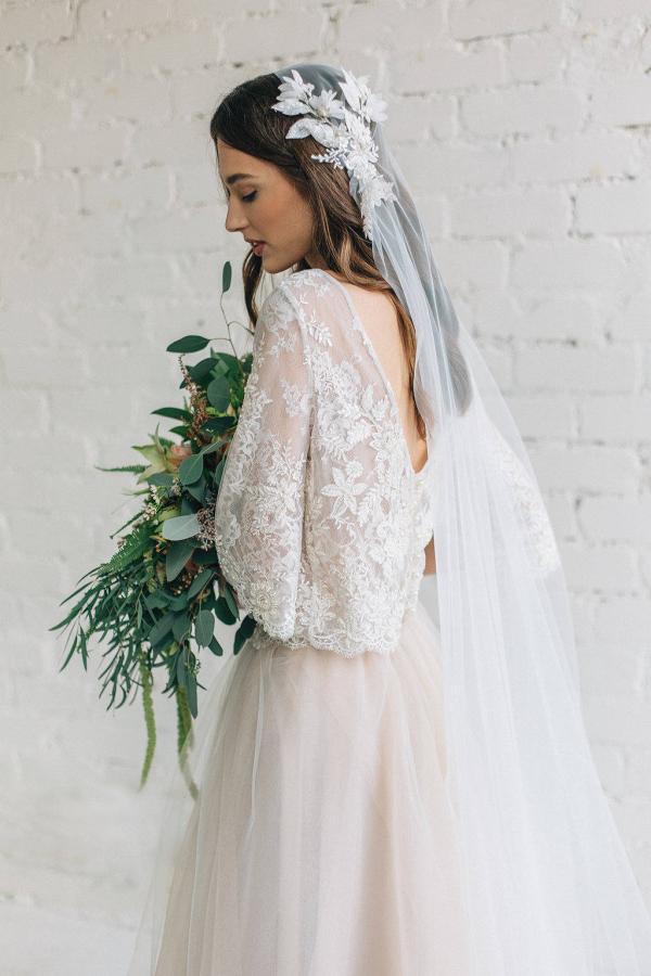 Peony Two Piece Winter Wedding Dress Back