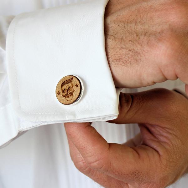 Laser-Engraved Wood Cufflinks