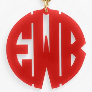 Red Monogram Key Chain