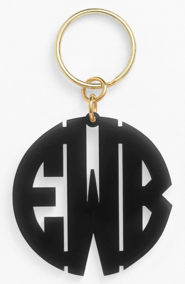 Black Monogram Key Chain