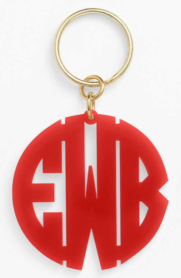 Red Monogram Key Chain