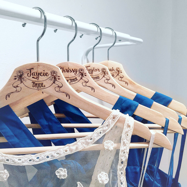 Personalized Wood Wedding Hangers