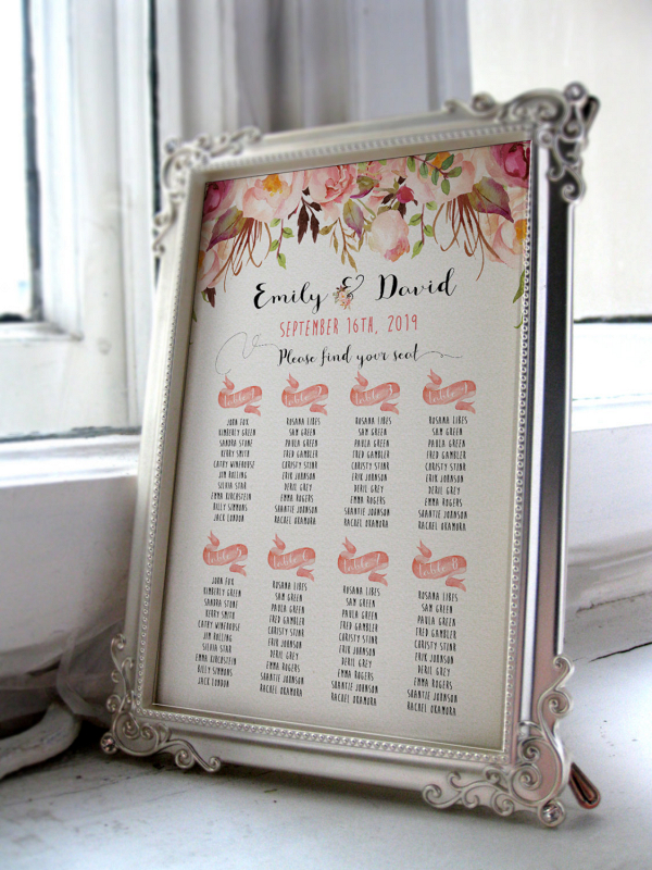 Floral seating chart printable