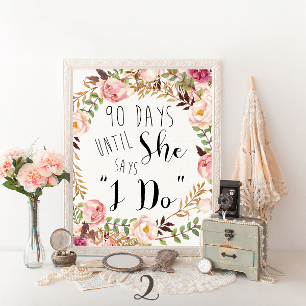 bridal shower floral sign