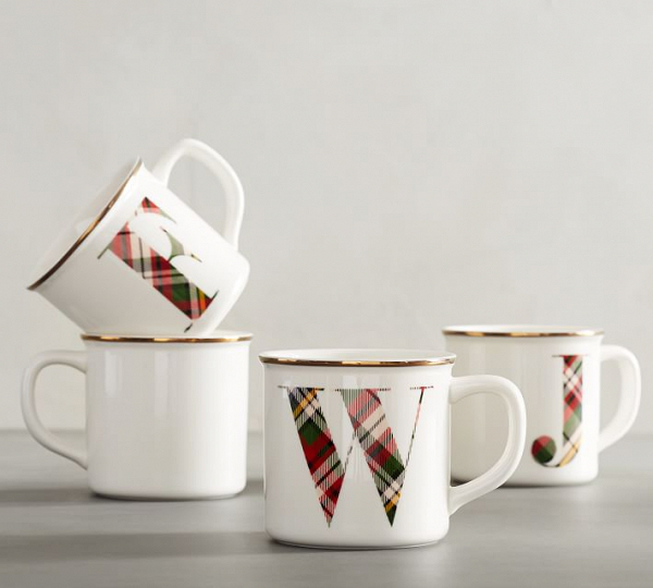 Plaid Monogram Stoneware Mugs