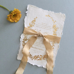 Hand-dyed gold silk ribbon