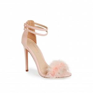 Blush feather bridal sandal