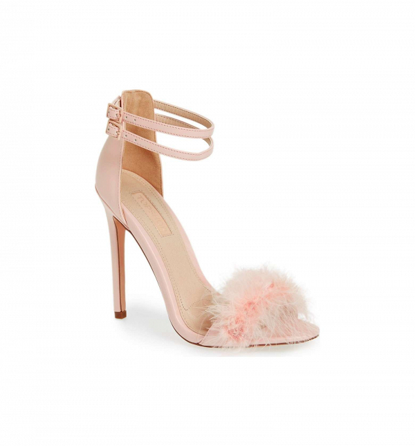 Blush feather bridal sandal