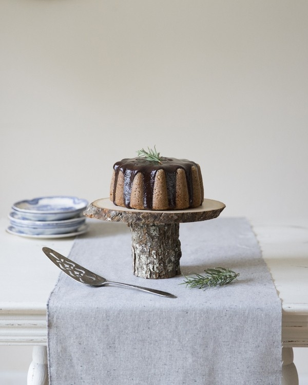 Recipe for a rosemary-almond bundt cake with rosemary-honey ganache