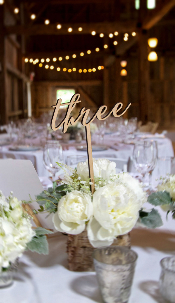 Laser-Cut Wood Table Number