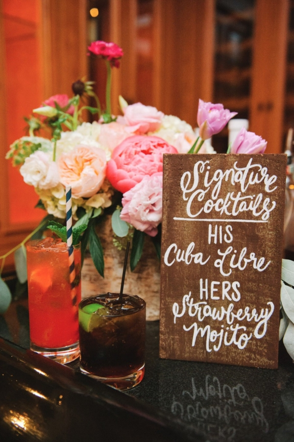 Rustic wooden sign for showcasing signature wedding cocktails