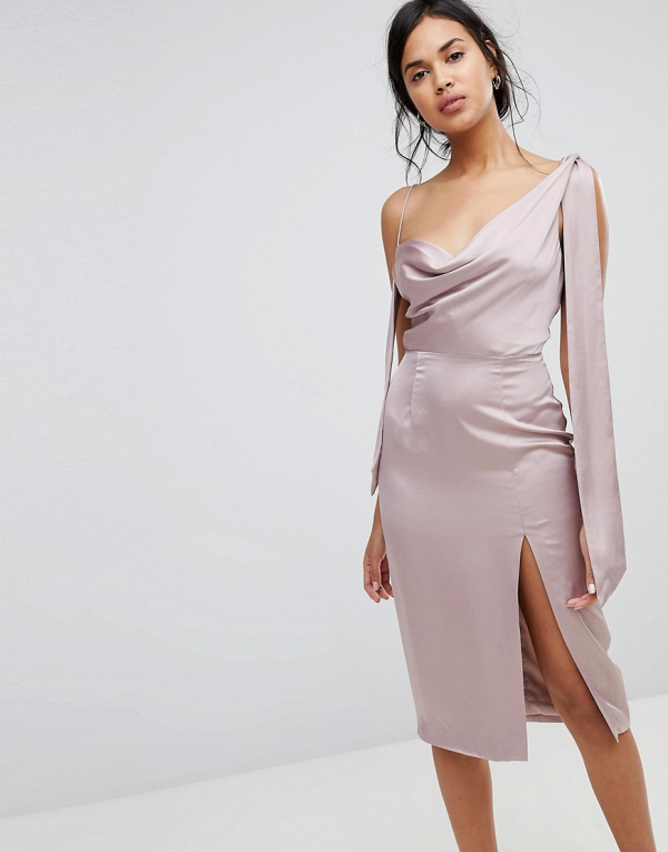 One-Shoulder Sateen Midi Dress