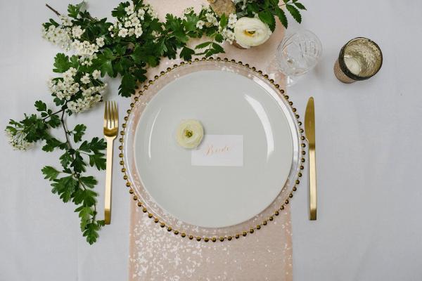 Blush Sequin Table Linen