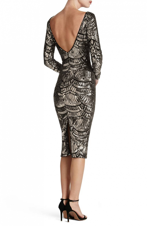 Sequined Midi Dress with a Scooped Back