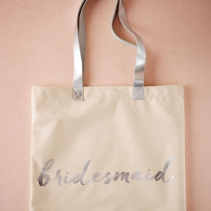 Bridesmaid tote with silver foil