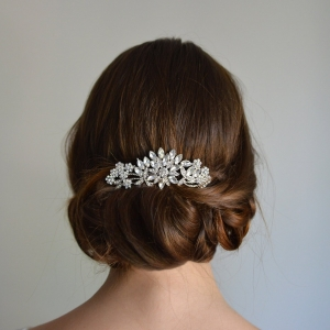 Silver floral hair comb with Swarovski crystals and clear rhinestones