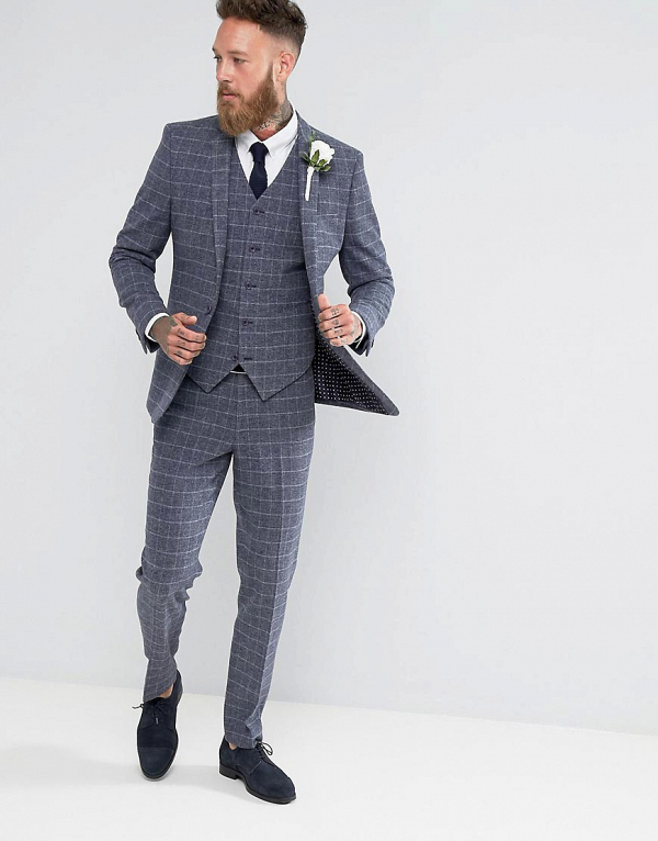 Skinny Grid Check Suit