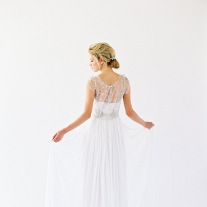 Silk-chiffon gown with a beaded lace overlay