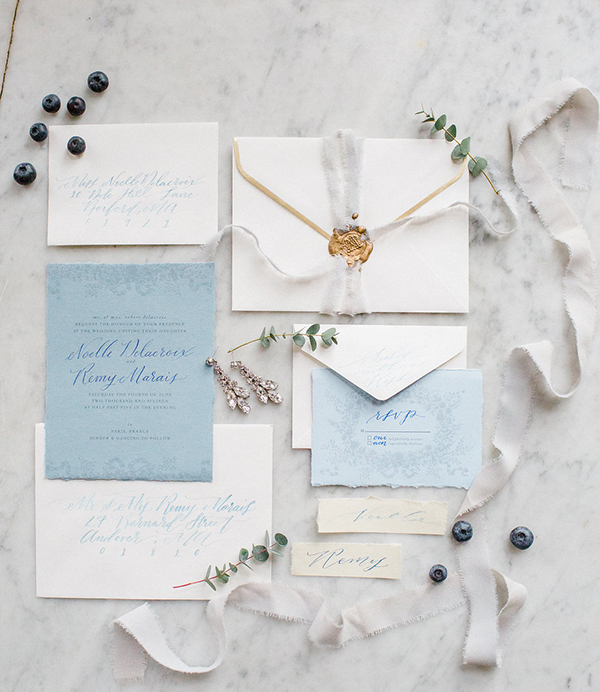 Blue-and-gold wedding invitation suite