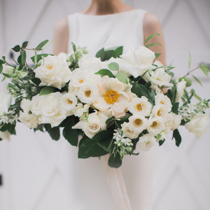 Lush white bouquet with greenery