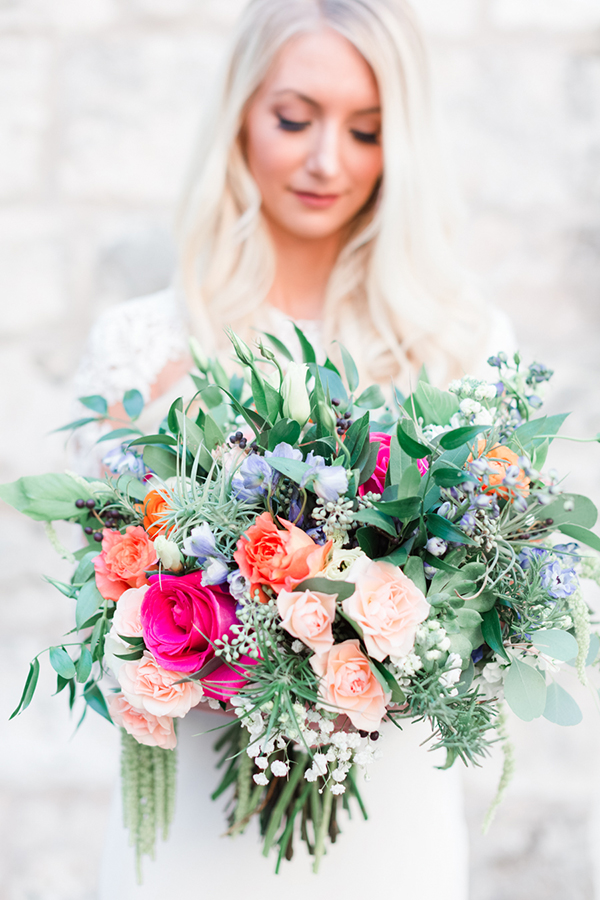 Organic bouquet with bright pops of color