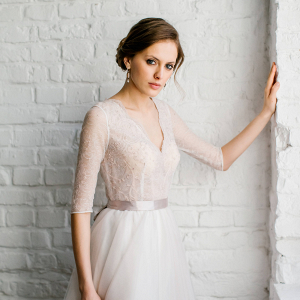 Light Pink Lace Bodice Wedding Dress