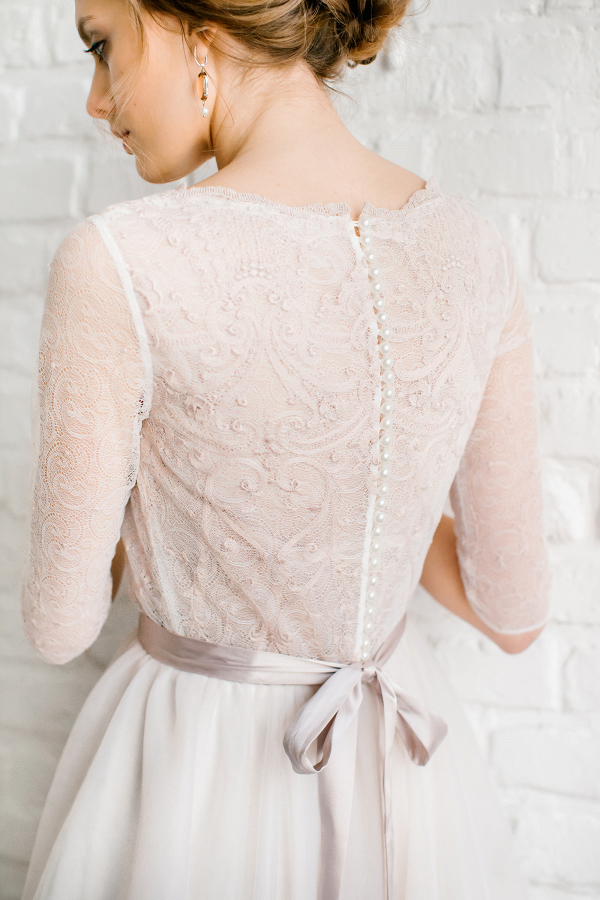 Light Pink Wedding Dress Back