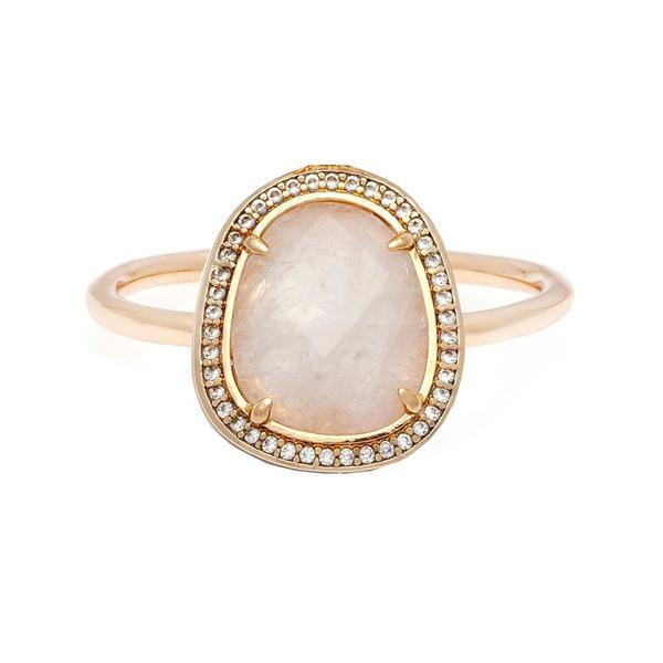 Stone Slice Moonstone Ring