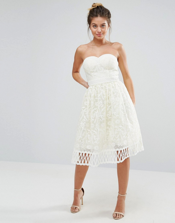 Strapless lace bridal shower dress