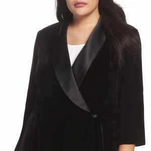 Stretch Velvet Plus-Size Blouse Jacket
