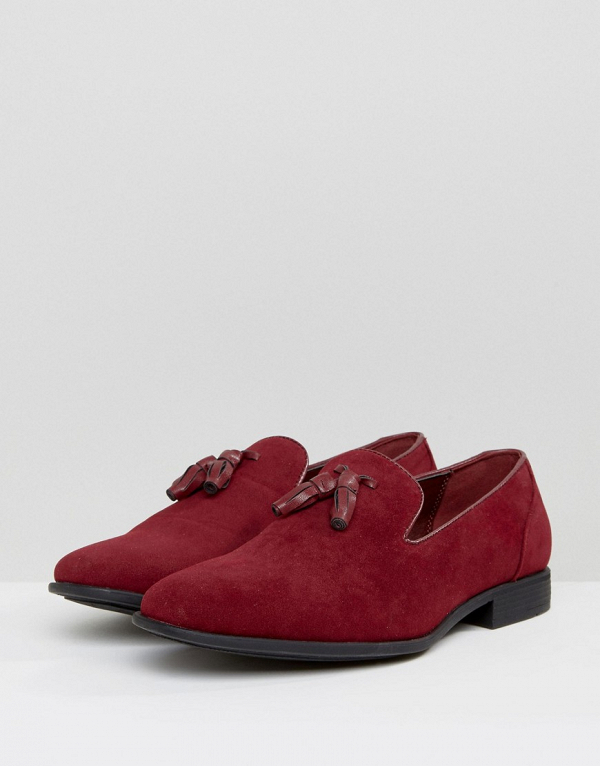 Burgundy Faux Suede Tassel Loafers