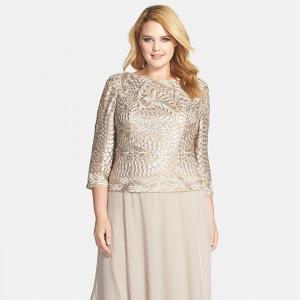 Tea-length mock two-piece dress
