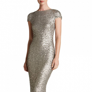 Silver Sequined Bridesmaid Gown