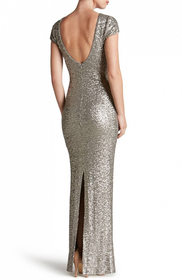Silver Sequined Low-Back Gown
