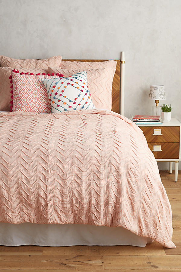Textured Chevron Duvet in Peach