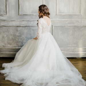 Three-Quarter-Sleeve Wedding Dress with a Layered Skirt