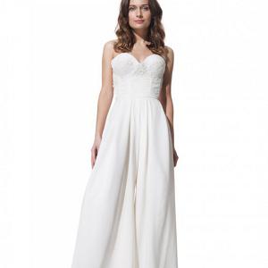 Three-piece silk bridal pantsuit