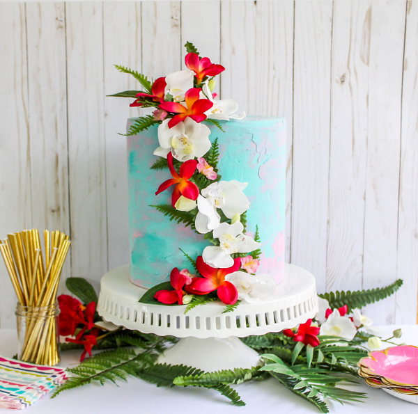 Tropical floral cake topper