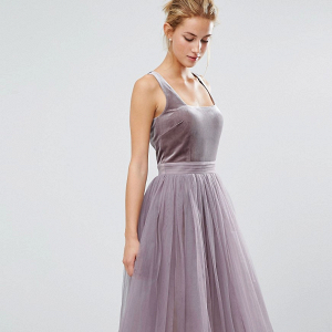 Velvet and tulle midi dress