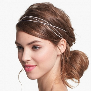 A delicate bohemian-inspired crystal head wrap