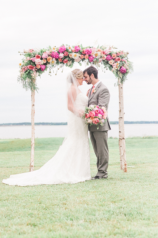 Birch and peony wedding arch