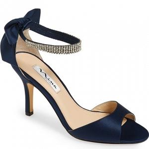 Crystal-embellished navy ankle-strap sandal