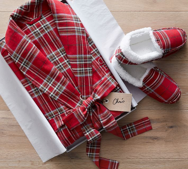 Plaid Monogrammed Men's Robe