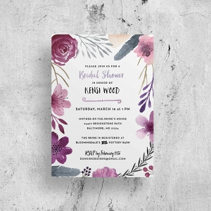 Watercolor bridal shower invitation printable