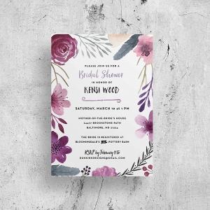 Watercolor bridal shower invitation printable