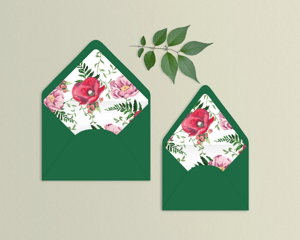 Watercolor floral envelope liners