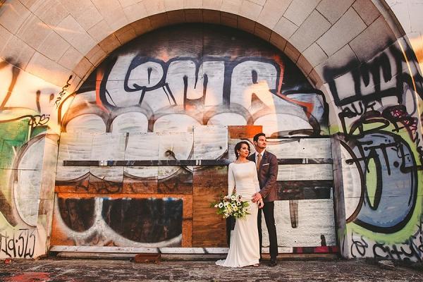 Wedding fashion shoot at an abandoned train station