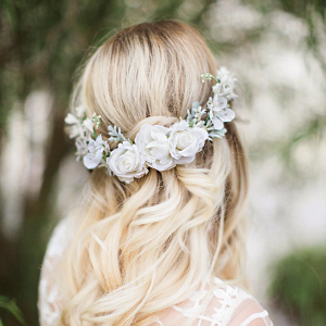 White Floral Bridal Hair Vine